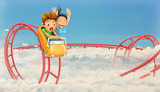 Fototapety Roller coaster in the clouds, vector background