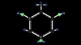 Trinitrotoluene molecule structure. Molecular structure of trinitrotoluene, TNT explosive. 3D animation. Alpha channel.