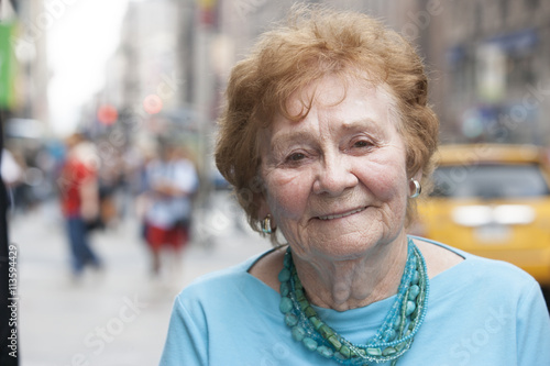 Pedestrian portrait in city Poster