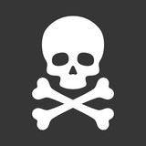 Skull with Crossbones Icon on Black Background. Vector
