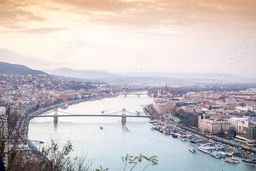 Poster Budapest at dusk taken from Gellert Hill, Hungary