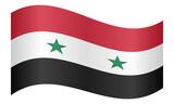 Flag of Syria waving on white background