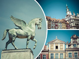 Collage of Poznan ( Poland ) images - travel background (my phot