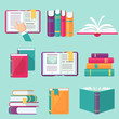 Book set in flat style, vector illustration