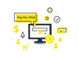 PPC pay per click - vector illustration. Internet marketing, advertising concept in line and flat style.