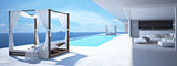 luxury swimming pool in santorini. 3d rendering - 113620450