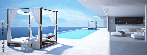 Staande foto Santorini luxury swimming pool in santorini. 3d rendering