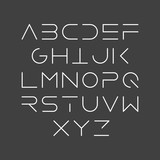 Thin line style, linear uppercase modern font, typeface, minimalist style. Latin alphabet letters.