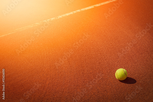 tennis ball next to line Poster