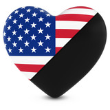 Black Mourning Heart Mixed with American Flag Heart - 3D Illustration