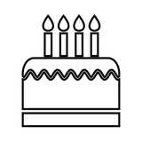 birthday cake with candles isolated icon design