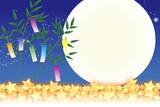 背景素材壁紙,七夕飾り,祭り,伝統,短冊,笹の葉,初夏,星屑,天の川,天の河,