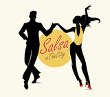 Fototapety Salsa in the City Tropical: Handsome man and beautiful girl dancing latin music