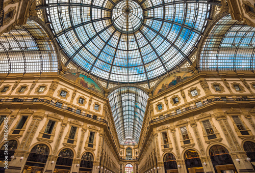 Fotobehang Milan Galleria Vittorio Emanuele II shopping arcade, Milan, Italy