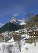 Monte Pelmo Peak and village Zoppe di Cadore, Dolomite mountains - Italy, Europe, UNESCO World Heritage Site