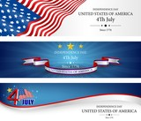 Flag banners independence day template
