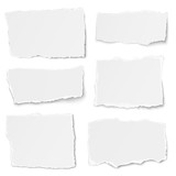 Set of paper different shapes tears isolated on white background - 113678859