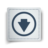 Black Arrow Down icon on white sticker