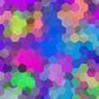 abstract background consisting of pink, blue, green hexagons