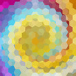 abstract background consisting of blue, yellow, gray, pink hexagons