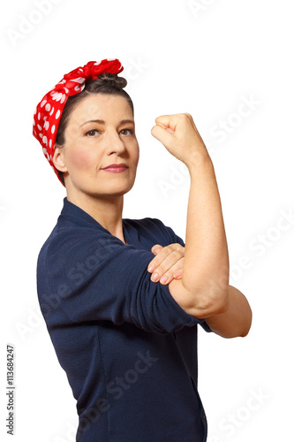 Poster woman clenched fist isolated copyspace