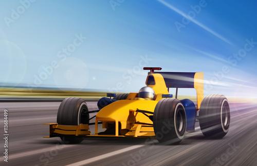 Fotobehang F1 yellow race car
