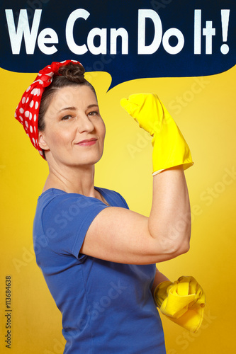 Poster rosie riveter cleaning gloves cloth