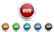 Metallic chrome round vector glossy  icon www set