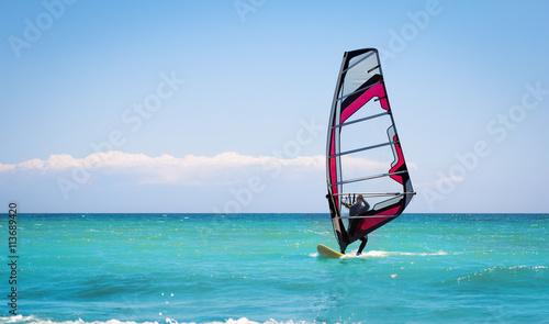 fototapeta na ścianę Windsurfing sails on the blue sea