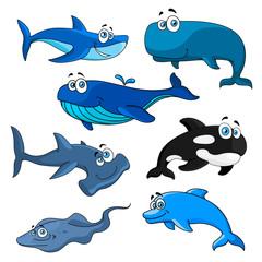 Funny cartoon sea animals characters  © Vector Tradition