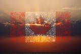 canada flag fireworks on sunset background