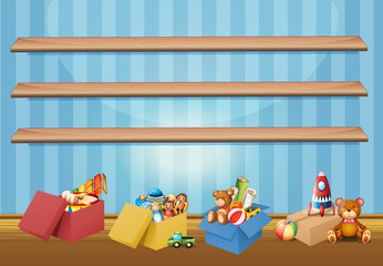 Empty shelves and toys on the floor