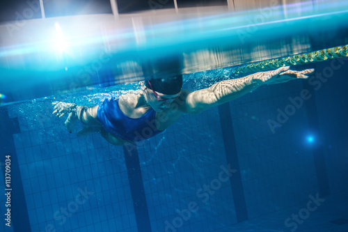 Swimmer woman underwater Poster
