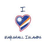 Marshallese flag patriotic t-shirt design. Heart shaped national flag Marshall Islands on white background. Vector illustration.