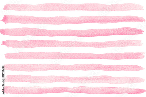Pink watercolor striped background  - 113715490