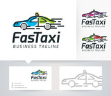 Fast Taxi vector logo with business card template