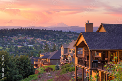 Sunset View from Deck of Luxury Homes Poster