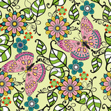 Vector Hand drawn Decorative pattern with floral ornament  flowe