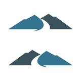 Mountain, Hill, Canyon and Path Logo Template