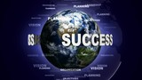 SUCCESS Text Animation and Earth, Loop, 4k