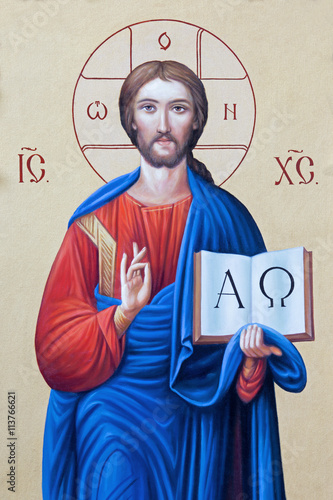 BRESCIA, ITALY - MAY 23, 2016: The icon of Jesus Christ the Pantokrator in presbytery of church Chiesa di Angela Merici by unknown artist. © Renáta Sedmáková