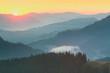 Mountains Range  - sunrise with real sun