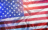 American flag with water drops and sunlight, patriotic background - 113773851