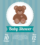 Baby Shower design.  teddy bear icon.  Blue illustration, vector