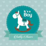 Baby Shower design. horse  icon.  Blue illustration, vector grap