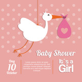 Baby Shower design. stork  icon.  pink illustration, vector grap