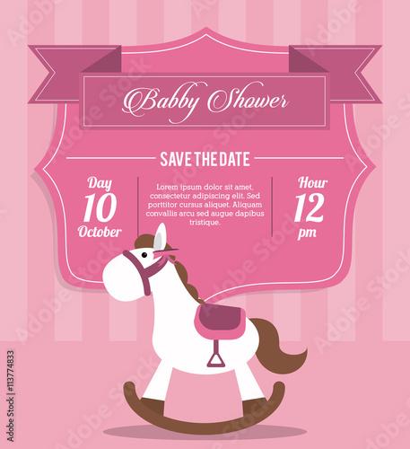 Baby Shower design. horse  icon.  pink illustration, vector grap