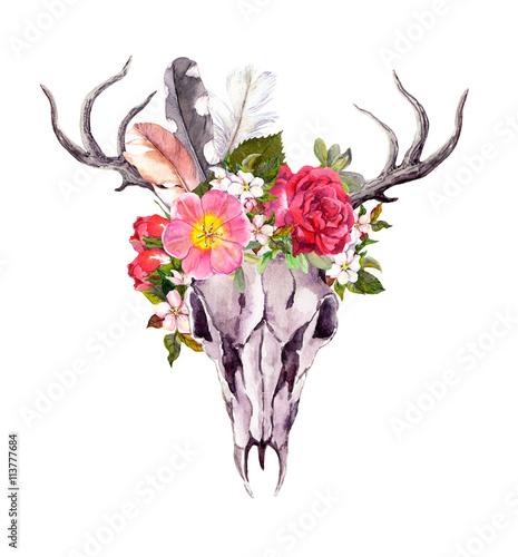 Deer animal skull - flowers, feathers. Watercolor in vintage style - 113777684