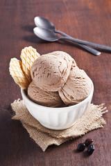 Chocolate ice cream scoops.