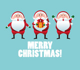 Merry Christmas concept with santa and gift  icon. vector graphi